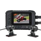 バイク用 前後2カメラ 防水 GPS搭載型ドライブレコーダー 2.35インチ 200万画素 1080P 常時録画 Gセンサー ループ録画 130°広角 128GB SDカード対応 日本語説明書付 32GBTFカード同梱