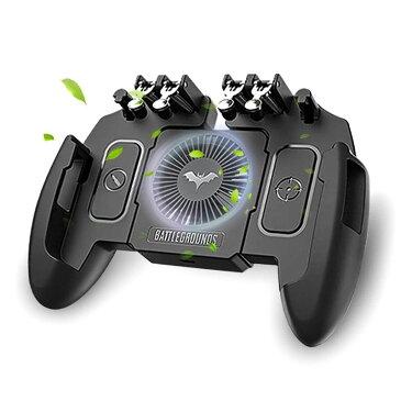 【最新6本指】 荒野行動 PUBG Mobile ゲームコントローラー 冷却ファン付き ゲームパッド 引き金式高速射撃ボタン クリック感 iPhone Android 等対応 B07V8SKFM3
