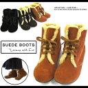 ブーツショートブーツ(ブーツ/ショートブーツ)ファー付スエードショートブーツ★ぺたんこヒールで歩きやすい!カジュアルシューズ