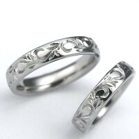 唐草模様・稀少な手彫り彫金純チタンマリッジリング(金属アレルギー対応の結婚指輪)セミオーダー・ペアリングM027刻印無料ブライダルメンズレディース肌が弱い