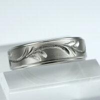 上品なツタ唐草・稀少な手彫りの彫金チタンリング。純チタンマリッジリング(金属アレルギー対応の結婚指輪)セミオーダー・ペアリングM052刻印無料ブライダルメンズレディース肌が弱い