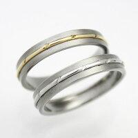 プラチナ&ゴールドシンプルデザイン純チタンマリッジリング(金属アレルギー対応チタン結婚指輪)セミオーダー・ペアリングM071刻印無料ブライダルリングメンズレディースシンプル肌が弱い大きいサイズアレルギーフリーチタンリングチタン指輪