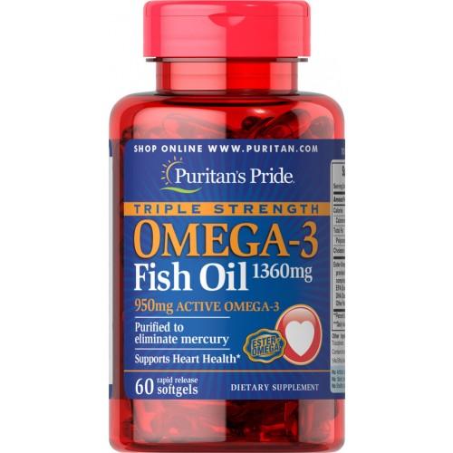 脂肪酸・オイル, フィッシュオイル  Puritans Pride 3 1360 mg.