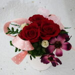 プリザーブドフラワー深紅能力のバラとベリー送料無料