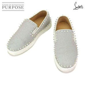 Christian Louboutin Christian Louboutin Pick Boat Slip-on Leather Glitter Silver 34 1/2 21.0 21.5cm 1190771 [Used]