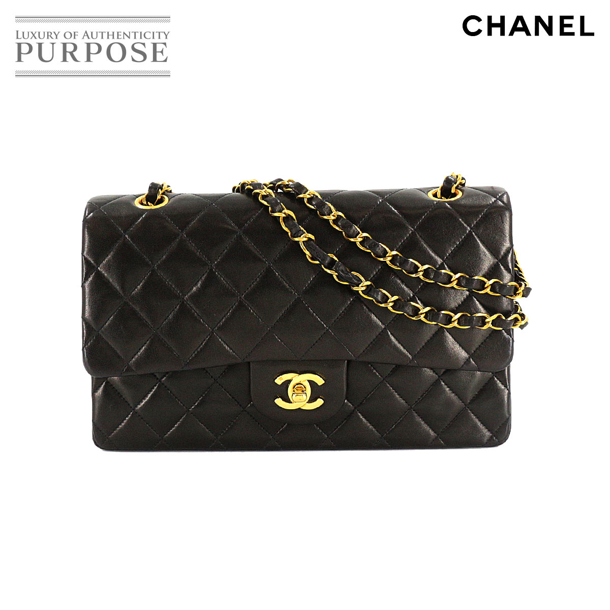 [Same as new] Chanel CHANEL Matrasse 25 Chain Shoulder Bag Leather Black A01112 [Used]