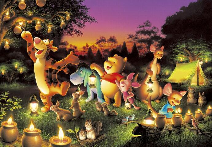 【在庫あり】ジグソーパズル 1000ピース ディズニー くまのプーさん 森のキャンドルパーティー 光るジグソー(51x73.5cm)(D-1000-270) テンヨー 梱80cm t101画像