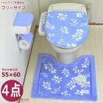おしゃれトイレマットセット4点グリーン洗浄暖房・普通便座共用型北欧かわいい花緑フラワーオカサンリーフ