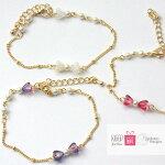 ブレスレットレディースアクセリボン大人かわいいピンク紫16Kコーティングゴールドパールゆめかわいいシンプルコーデ華奢ブレスレットギフトプレゼントポイント消化