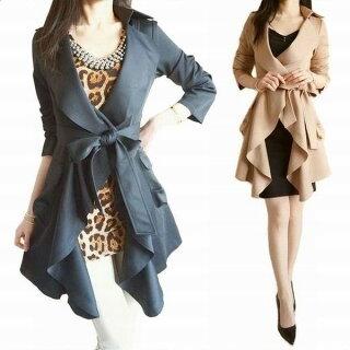 エレガントリッチな大きな襟が素敵なシルエットロングジャケット、コート