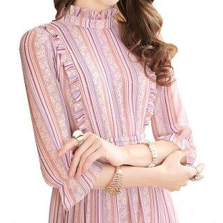 ワンピース春花柄ピンクストライプフリル優雅上品ミモレ丈ロング五分袖