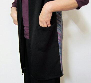 【大きいサイズ/日本製/手作り/個性的/送料無料】ショール感覚で気軽にどうぞ。滑らかな黒と光沢の絣生地がマッチした創作ロングベスト 1着限定 綿100% ゆったりサイズ40代.50代.60代.70代/個性派 シニア ミセス レディースファッション