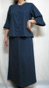 後ろのギャザーが大人♪青フェミニンツーピース綿100% 30代.40代.50代.60代.70代のための個性派シニア・レディースファッション