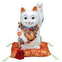 九谷焼 K5-1598 小槌持招き猫 左手上げ 8号 白盛 布団付 14×16×26.5cm 紙箱