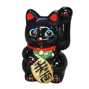 常滑焼 招き猫 貯金箱 美園 黒手長小判猫(左手) 4.5号 高さ:13.5cm<左手を上げる猫はお客を招く!千客万来>