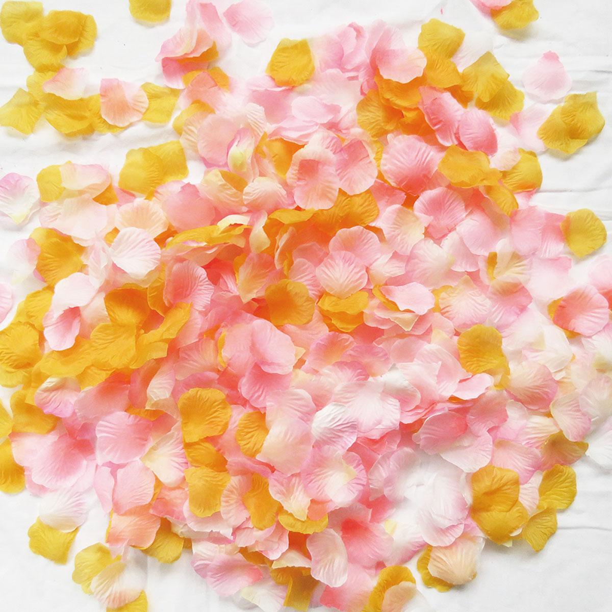 フラワーシャワー 造花 幸せピーチ 5色MIX ウェディング 花びら 約1000枚 ピンク オレンジ 圧縮 結婚式 小物 飾り プレゼント ペーパーフラワー かざりつけ セット 誕生日 プロポーズ flower shower【メール便で送料無料】