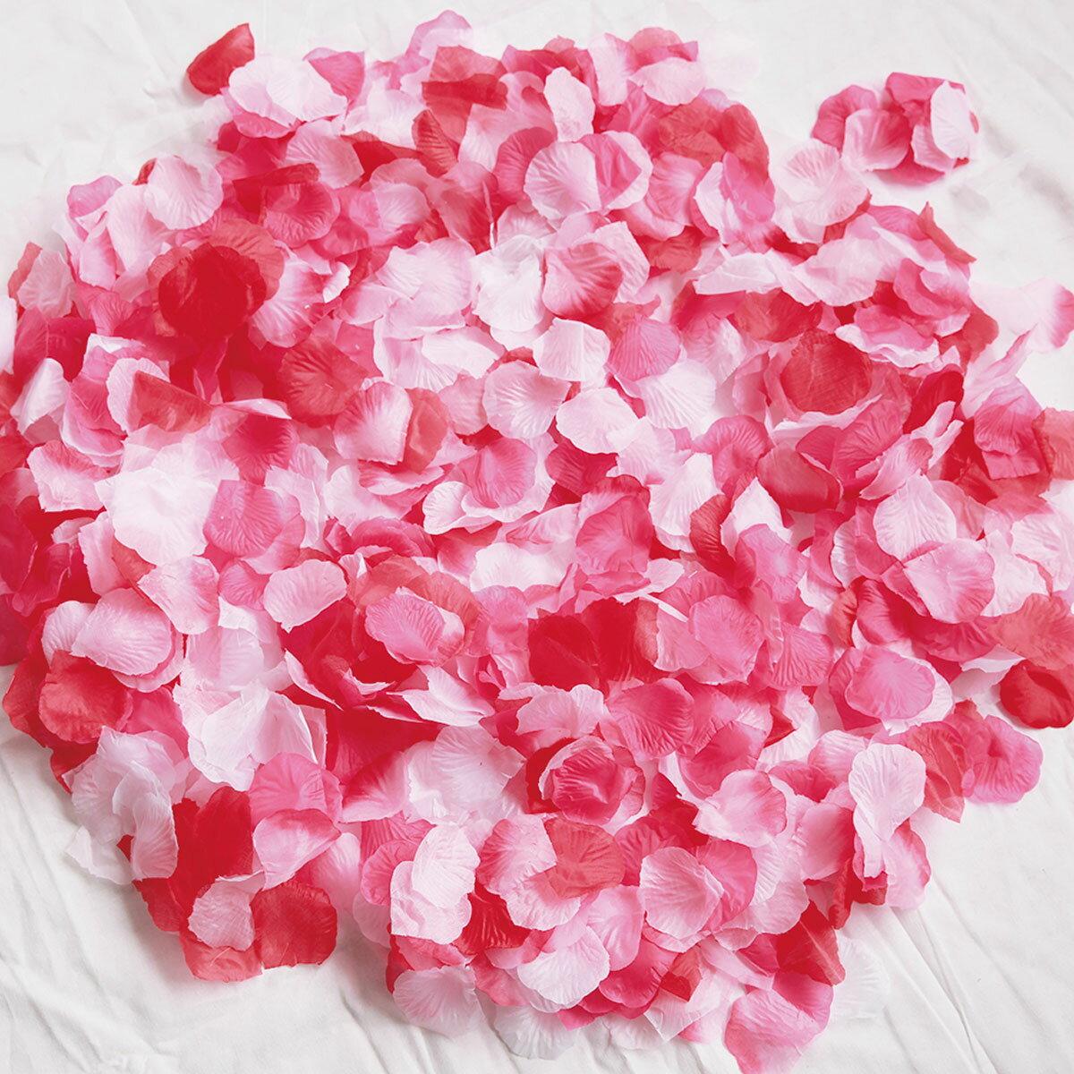 フラワーシャワー 造花 1000枚 ローズレッドMIX! 5色 赤 白 ピンク たっぷり フラワーペタル 結婚式 ウェディング ブライダル 2次会 披露宴 テーブル 花びら ウエルカムアイテム 挙式 記念 演出 写真映え セット flower shower【メール便で送料無料】