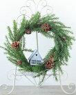 クリスマスリースLED付スモールハウスCXO-L422M【クリスマスリース/装飾/雑貨/玄関ドア/壁掛け/おしゃれ/LEDライト/ナチュラル/シンプル】