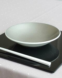 ホワイトプレートLサイズ2色【漆器/和食器/白い食器/和モダン/おしゃれ/大皿/丸皿/白・金・銀/食洗機可】