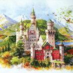 パズル ジグソーパズル500ピース ジグソーパズル Schwanstein Castle ノイシュヴァンシュタイン城 夏 summer 風景 絵画パズル サイズ520×380mm 付属品 パズル パズルリキッド ヘラ付き 実物ポスター A-5132 chamber art メール便対応不可入学式 卒業式 成人式