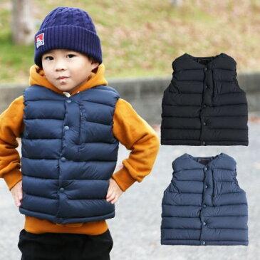ダウンベスト キッズ 子供 ベスト 男の子 女の子 秋冬 モコモコ フード無し ブラック ネイビー 袖なし 韓国子供服
