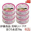 送料無料 伊藤食品 美味しいツナ まぐろ水煮 フレーク 70g ×6缶(ツナ缶 つな缶 国産 鮪)