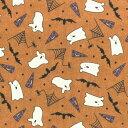 web20160915-01 お化けとクモのフランネル ミニカット【パッチワーク / キルト / 生地 / 布 / 綿 / カットクロス】