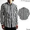 ストライプ長袖シャツメンズ白黒シャツストライプシャツ日本製