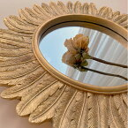 【30%OFFクーポン有】ミラー 壁掛け 鏡 韓国インテリア ヴィンテージ風 おしゃれ フェザー ゴールド