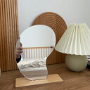 ミラー 置き鏡 天然木パイン 5mm飛散防止ミラー オイル塗装 田舎風 フランス