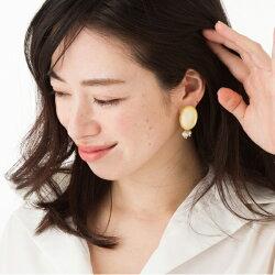 ★ポリシェル&セラスパールバックキャッチピアス/イヤリング★
