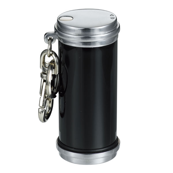 携帯灰皿 おしゃれ かわいい アッシュシリンダーアルミ製(ブラック)