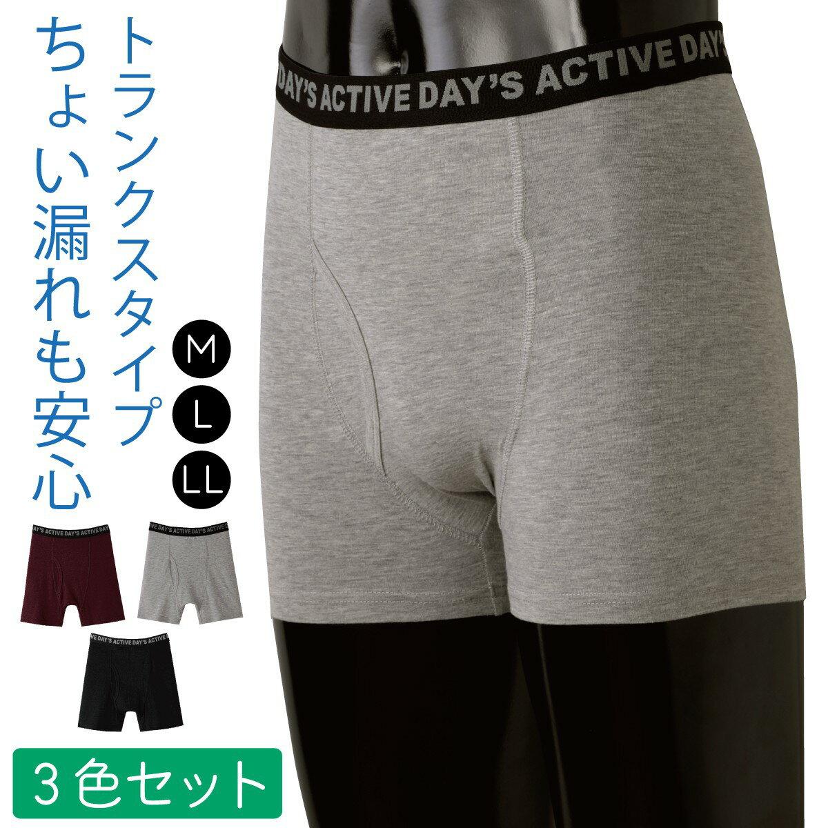 失禁パンツ 男性用 トランクス 軽失禁 日本製 バレない 尿漏れパンツ 尿モレパンツ 軽失禁パンツ さわやかガード トランクス ショート  4色組