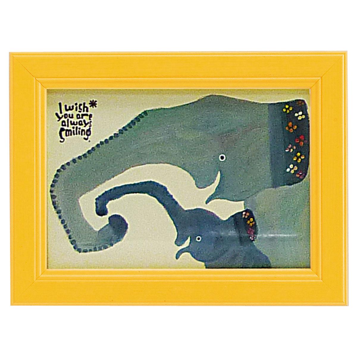 アートパネル ミニアート ウォールパネル インテリアパネル 動物 アニマル インテリア 子供部屋 壁掛け ミニアート 武内祐人 ゾウの親子 アートフレーム