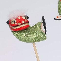 《 正月 装飾 》Parer/パレ 獅子ピック ラメグリーン (3個アソート) 新年