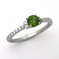 婚約指輪プラチナデマントイドガーネット0.55ctダイヤモンド0.194ctエンゲージリング