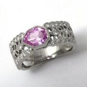 プラチナピンクサファイア1.15ctダイヤモンド0.36ctリング