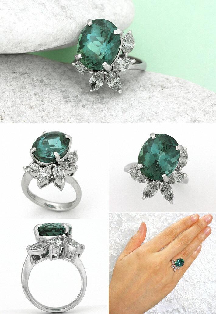 最高級品質 プラチナ ブルーグリーン トルマリン 9.161ct ダイヤモンド 1.48ct リング
