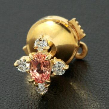ネクタイピン K18 オレンジサファイア 0.68ct ダイヤモンド 0.235ct