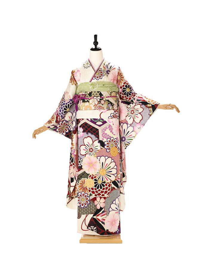 振袖 レンタル 成人式 ふりそで furisode 二十歳のお祝い せいじんしき 20歳 女性 着物 正絹 白419【レンタル】