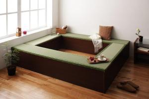 日本製国産畳ユニット畳ベンチ和和風ベンチ収納幅90タイプ(2体)+幅180タイプ(2体)セットブラウン茶色
