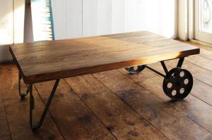 センターテーブル おしゃれ かっこいい カフェ 系 ヴィンテージ カントリー 調 トロリーテーブル(幅110) ウォールナット ブラウン 茶色