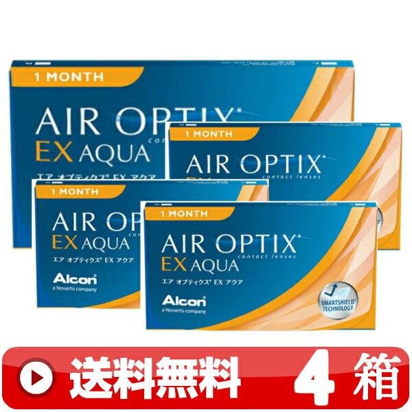 ★【 送料無料 】   エア オプティクス EX アクア (3枚入)  【 ×4箱 】    | 1か月 使い捨て ワンマンス 1MONTH コンタクトレンズ | 日本アルコン ALCON | AIR OPTIX EX AQUA | メーカー直送