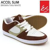 es ACCEL SLIM エス スニーカー アクセル BROWN/TAN/WHITE スケシュー SKATEBOARD スケシュー スケボーシューズ スケートボード