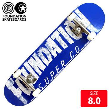 スケボー コンプリート ファンデーション FOUNDATION THRASHER BLUE 8.0 完成品 スケートボード