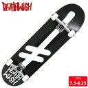 スケボー コンプリート DEATHWISH デスウィッシュ GANGLOGO BLK/WHT 7.5-8.25 スケートボード【クエスト...