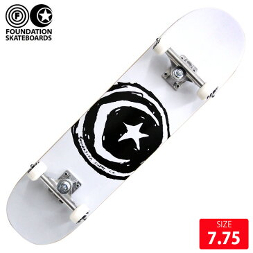 FOUNDATION コンプリート ファンデーション STAR&MOON WHITE DECK 7.75インチ 完成品 スケボー スケートボード