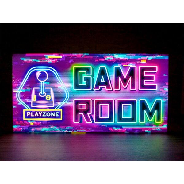 LEDデザインライト ゲームゲーム場ゲーム店ゲームセンターGAMEROOMゲーマーテーブルゲームネオン風レトロ看板インテリア雑