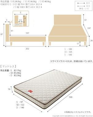 収納付きフラットヘッドボードベッド〔オーブリー〕レッグタイプシングルマルチラススーパースプリングマットレスセット