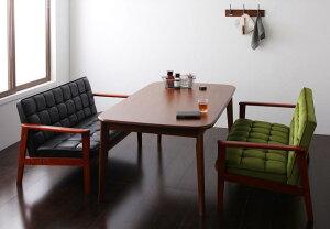 (送料無料) ダイニング テーブル セット 3点セット Cタイプ(テーブル幅160cm+2Pソファ×2) 4人用 ウォールナット ダイニング3点セット 食卓3点セット 椅子 イス ダイニングソファセット ダーニー